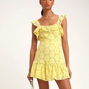 Lulu's | Biscay Yellow Ruffled Eyelet Lace Dress